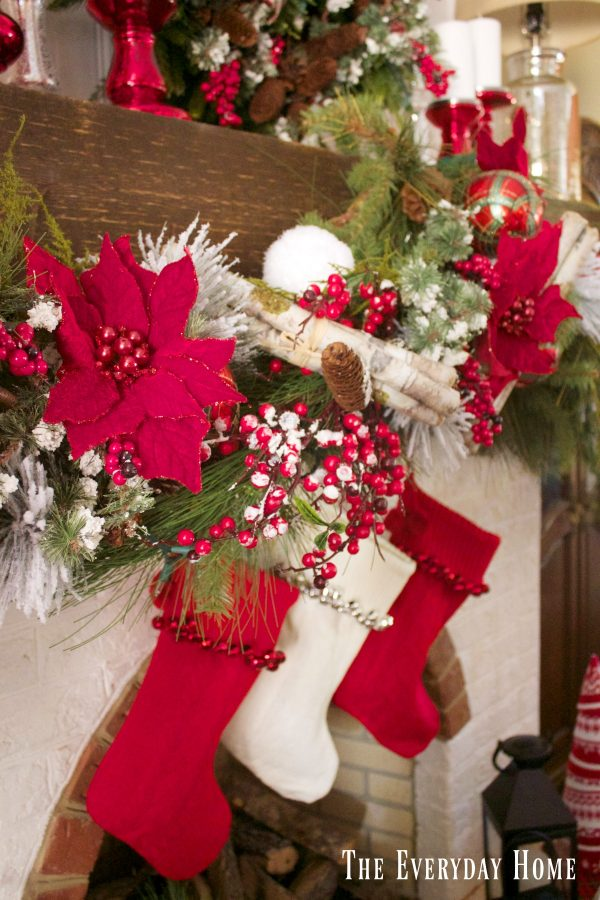 festive-christmas-mantel-garland-and-stockings | The Everyday Home | www.everydayhomeblog.com