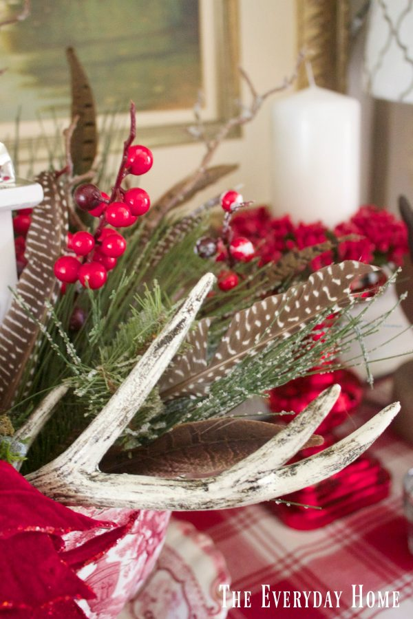 dining-room-buffet-for-christmas-centerpiece-feathers-and-berries
