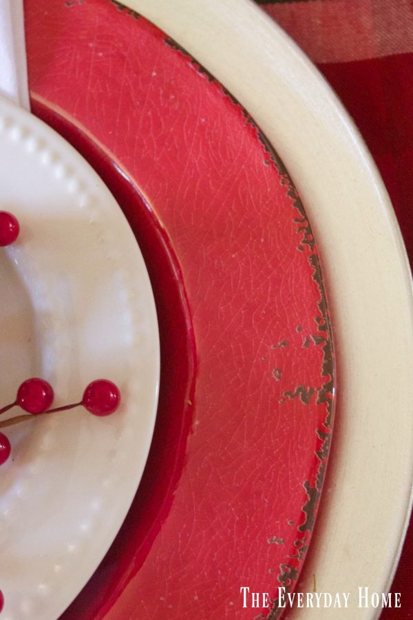 Pretty in plaid christmas tablescape the everyday home for Plain white plates ikea
