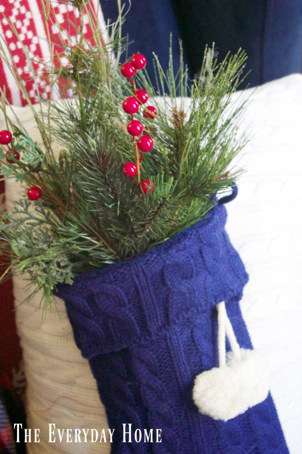 greenery-on-a-sweater-stocking-pillow | The Everyday Home | www.everydayhomeblog.com