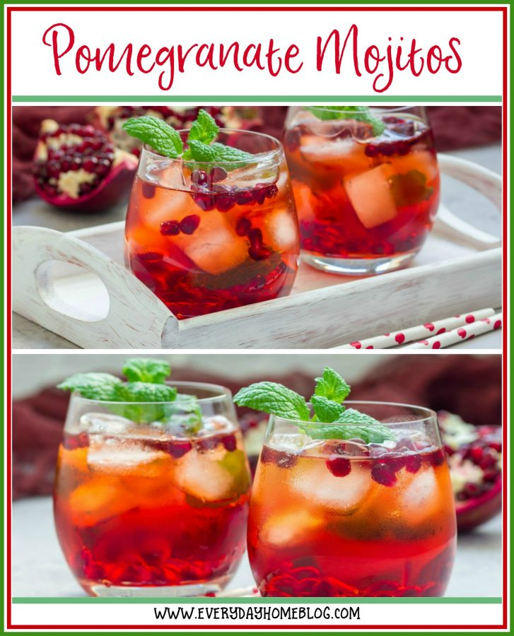 Mojito with Pomegranate Cocktail | The Everyday Home | www.everydayhomeblog.com