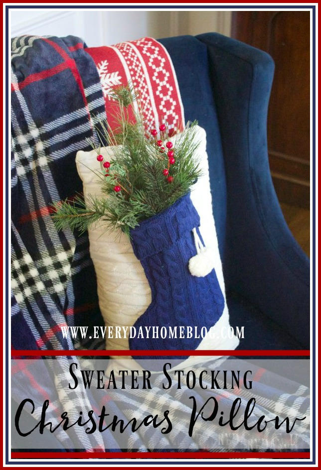 sweater-stocking-christmas-pillow | The Everyday Home | www.everydayhomeblog.com