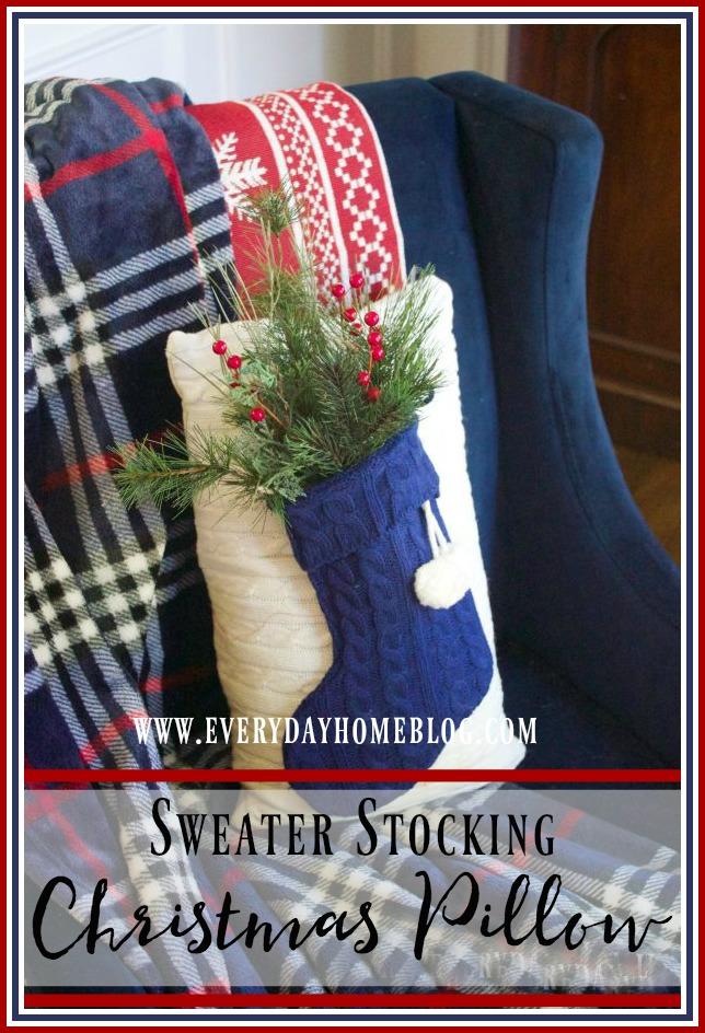 sweater-stocking-christmas-pillow | The Everyday Home | www.everydayhomeblog.com