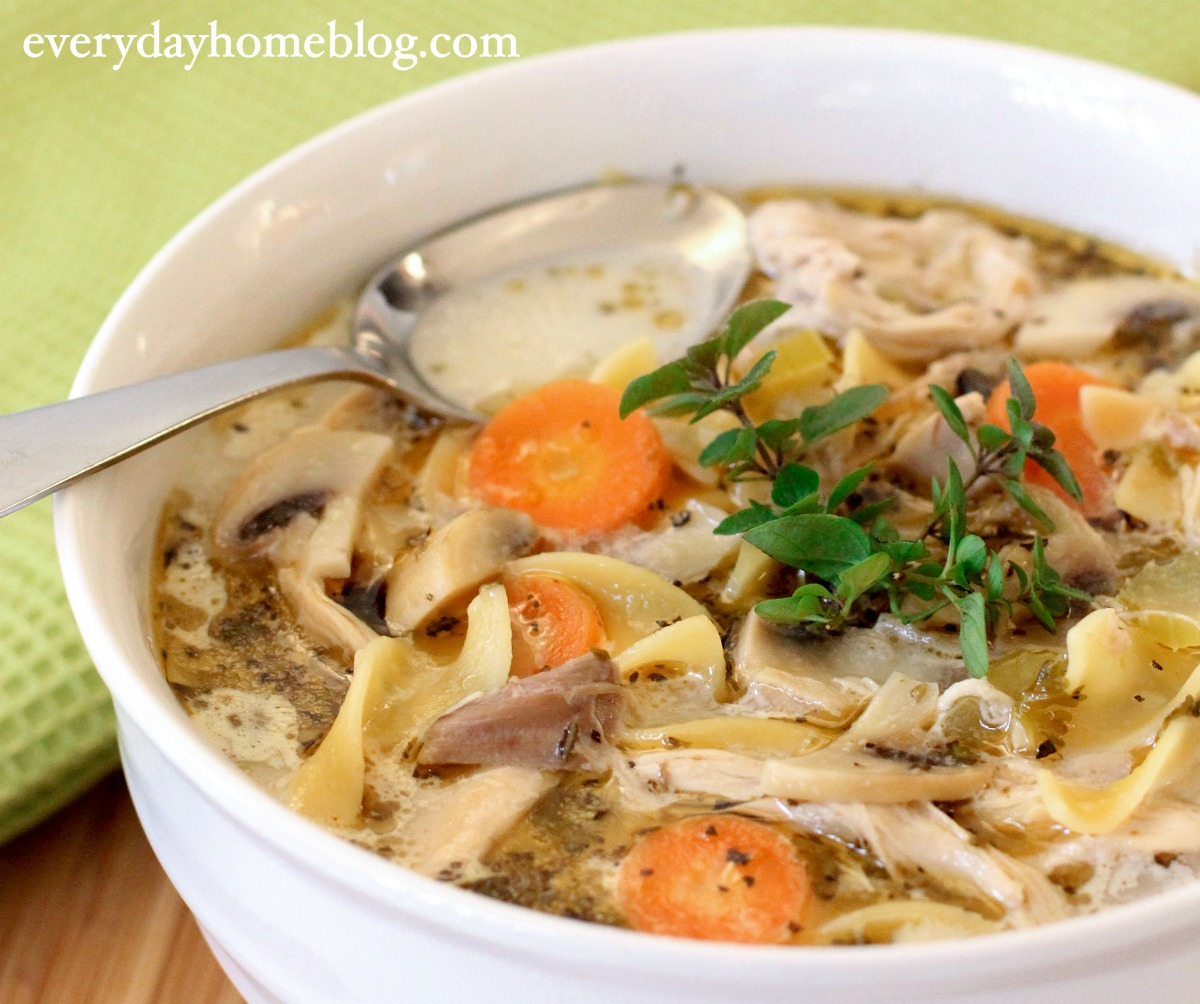 This Old-Fashioned Chunky Chicken Noodle Soup Recipe warms the heart and fills the tummy, and is quick and easy to make. | The Everyday Home | www.everydayhomeblog.com