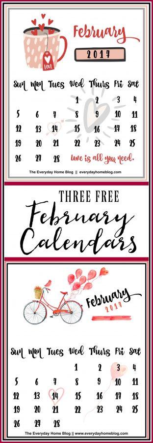 Three FREE February Printable Calendars | The Everyday Home | www.everydayhomeblog.com