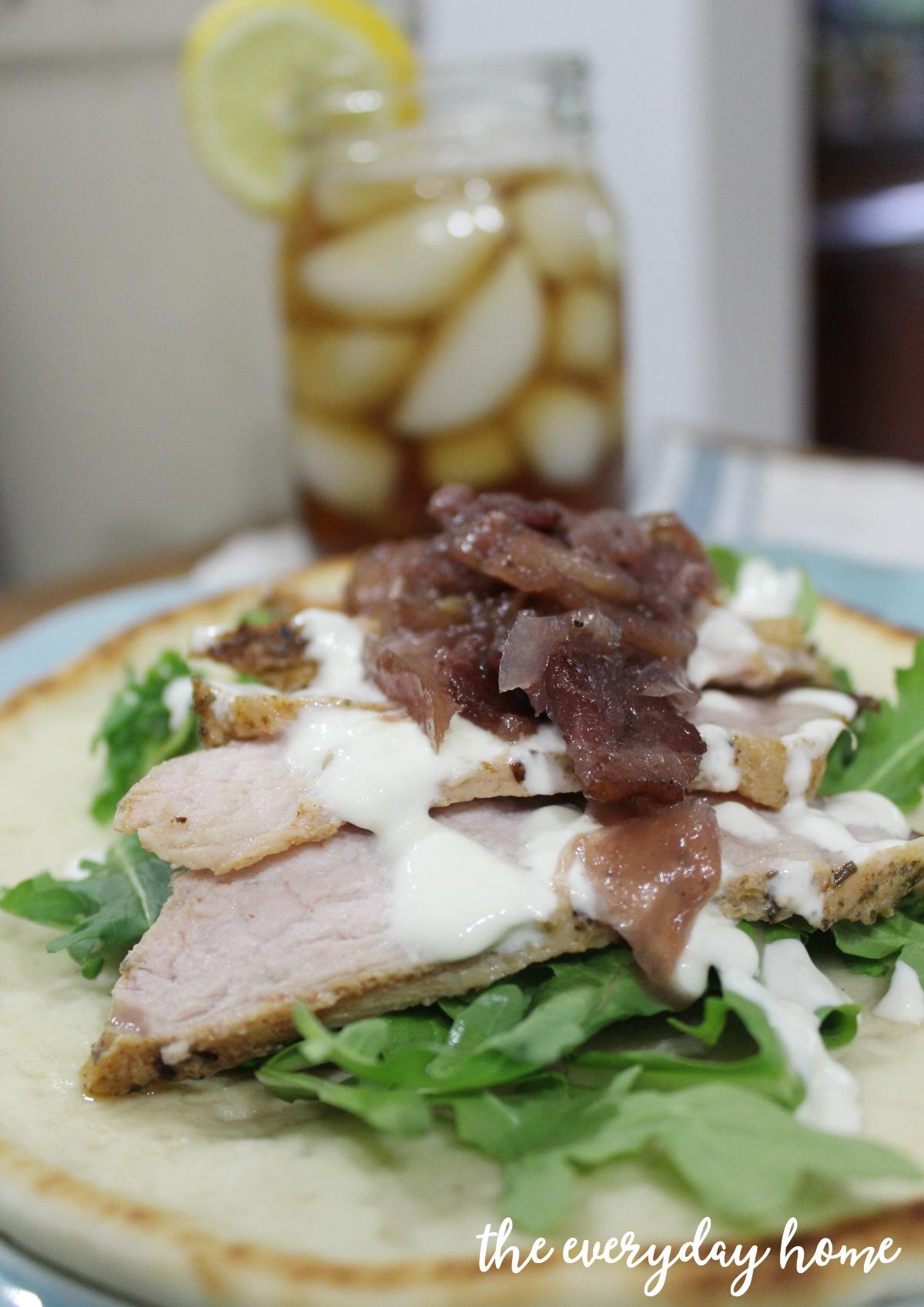 Roasted Pork Flatbread with Bacon-Apple-Onion Jam | The Everyday Home | www.everydayhomeblog.com