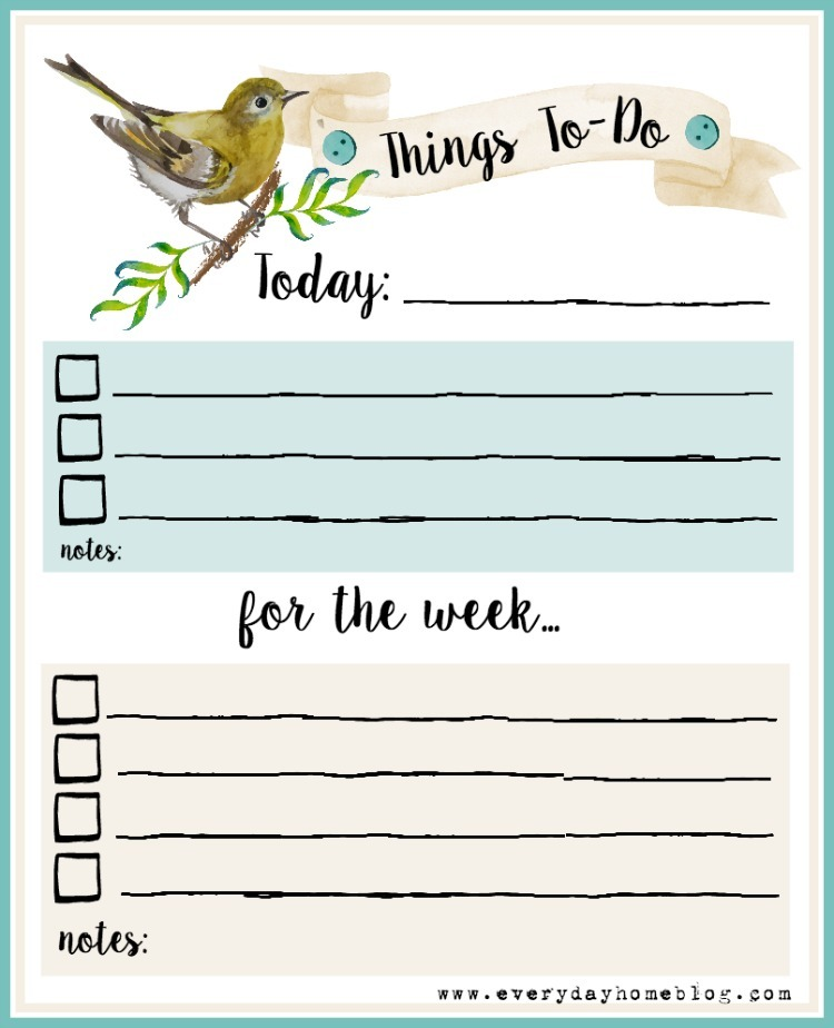 FREE Weekly Things to To Printable | The Everyday Home | www.everydayhomeblog.com