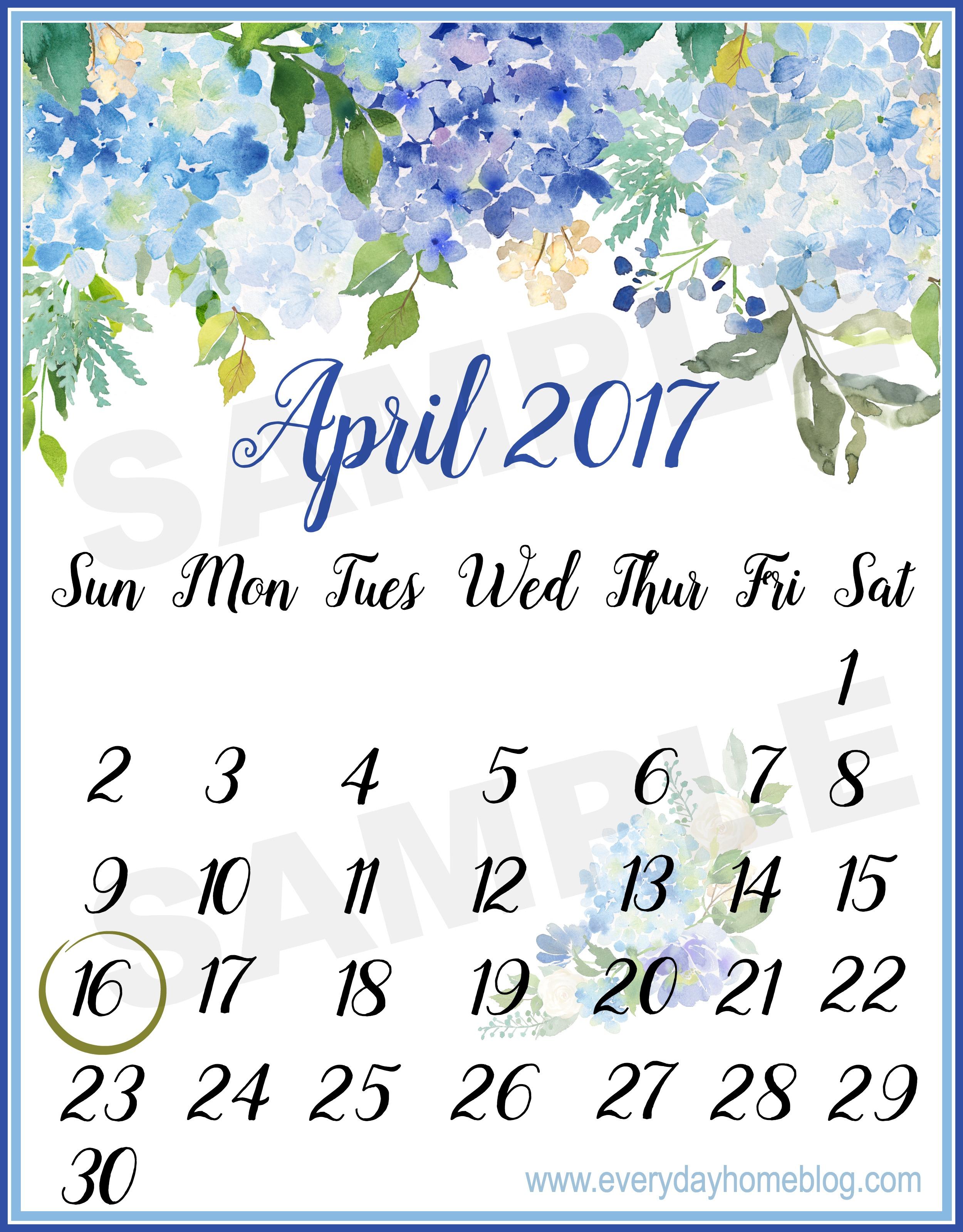FREE April 2017 Calendar Printable | The Everyday Home | www.everydayhomeblog.com
