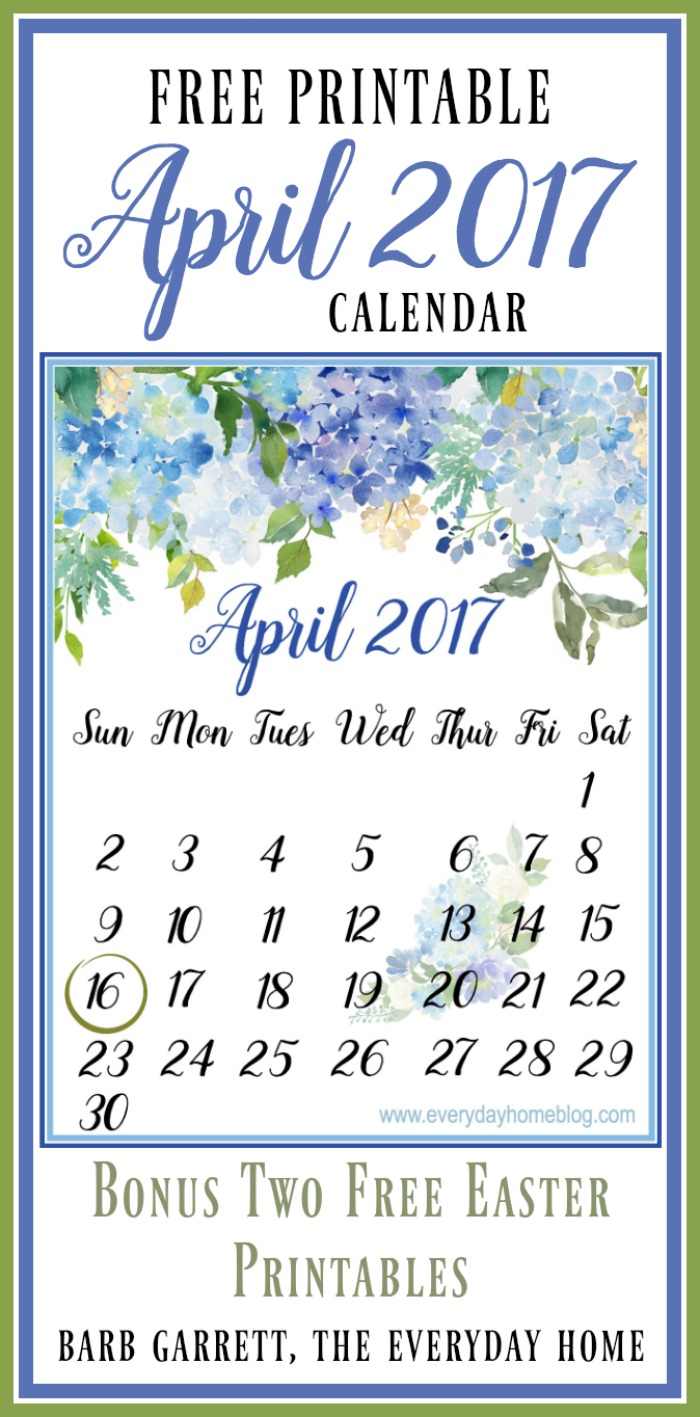 April Calendar Easter : April calendar and easter printables the everyday home