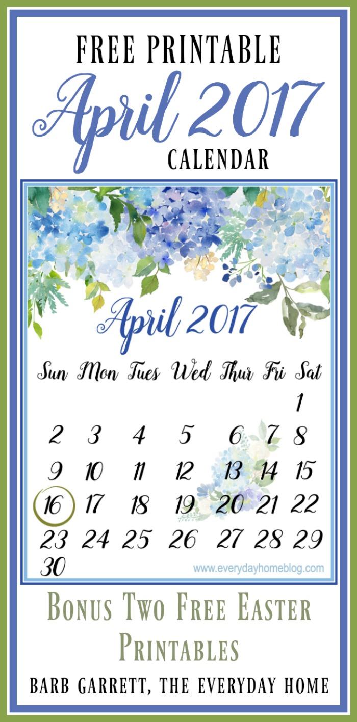 FREE April 2017 Calendar Printable | BONUS EASTER PRINTABLES | The Everyday Home | www.everydayhomeblog.com