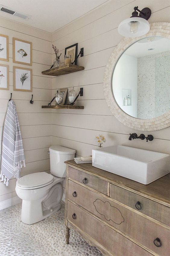 10 Ways To Add Shiplap To Your Farmhouse Bathroom | The Everyday Home | Www.