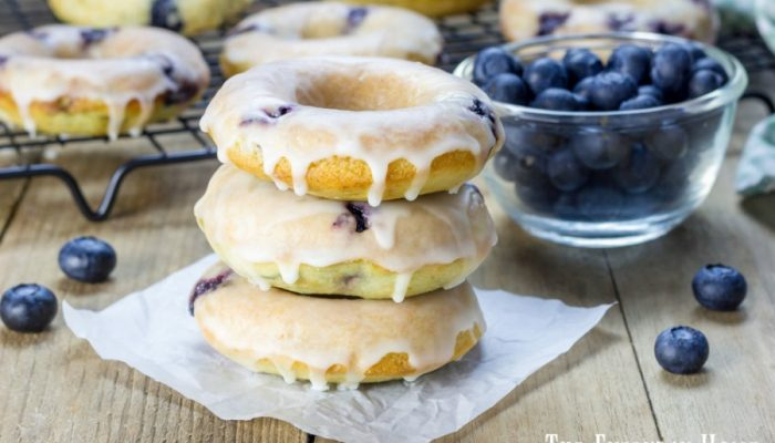 Baked Blueberry Doughnuts with Lemon Glaze