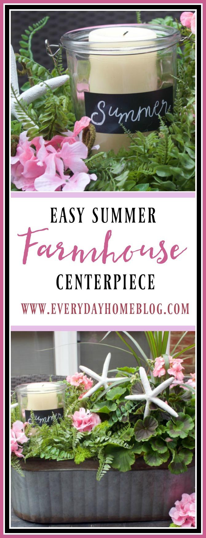 How to Make an Easy Summer Farmhouse Centerpiece || The Everyday Home || www.everydayhomeblog.com