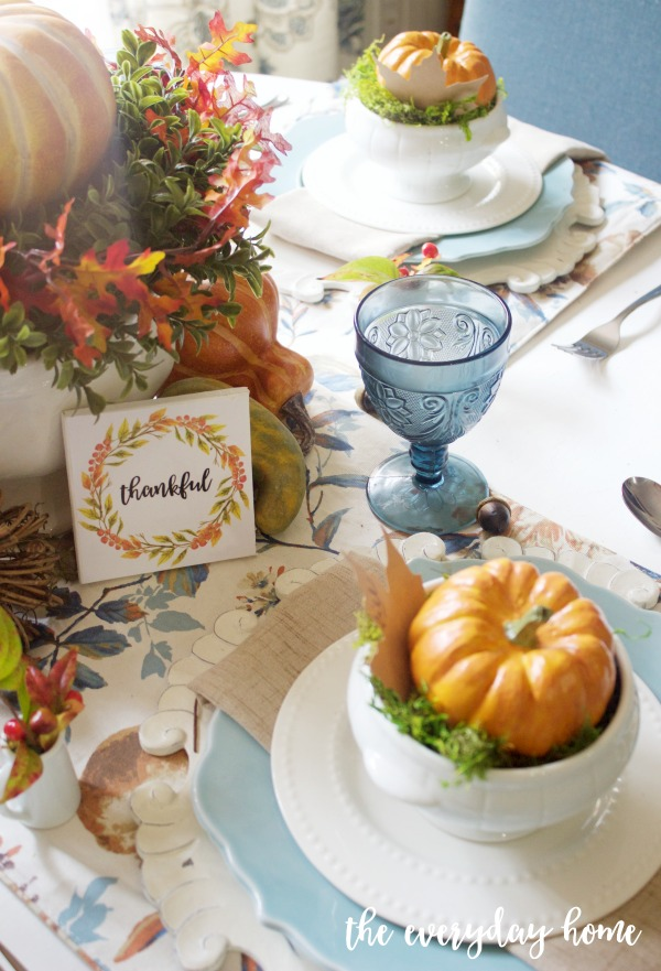 A Blue and Orange Fall Tablescape | The Everyday Home