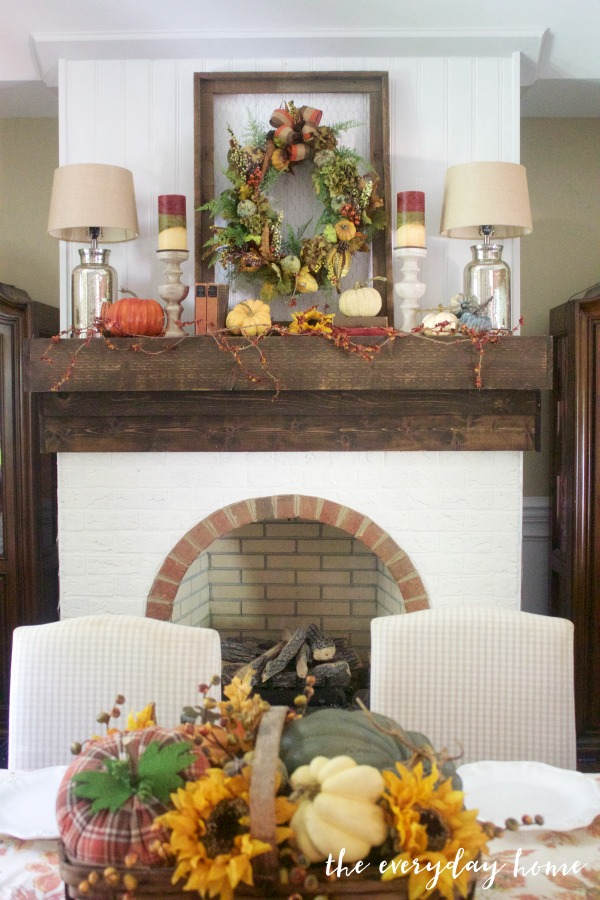 A Dining Room's Rustic Fall Mantel | The Everyday Home | www.everydayhomeblog.com