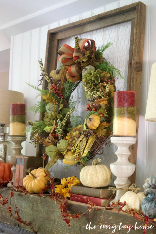 Create an Easy Rustic Fall Mantel Wreath | The Everyday Home | www.everydayhomeblog.com