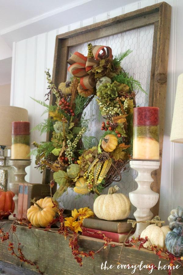 Create an Easy Rustic Fall Mantel Wreath | The Everyday Home | www.everydayhomeblog.com