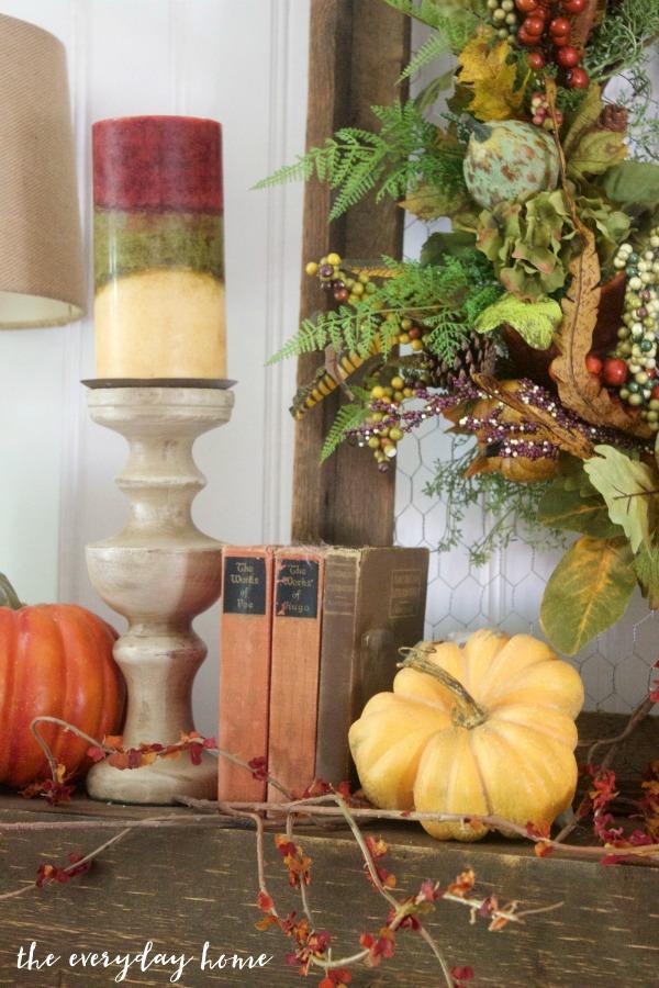 Create a Rustic Fall Mantel | The Everyday Home | www.everydayhomeblog.com