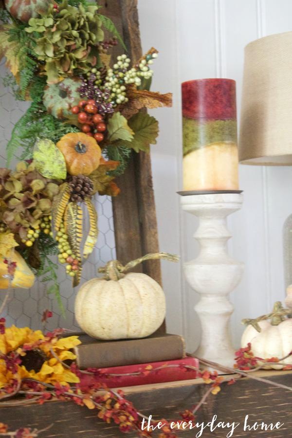 Create an Easy Rustic Fall Mantel | The Everyday Home | www.everydayhomeblog.com