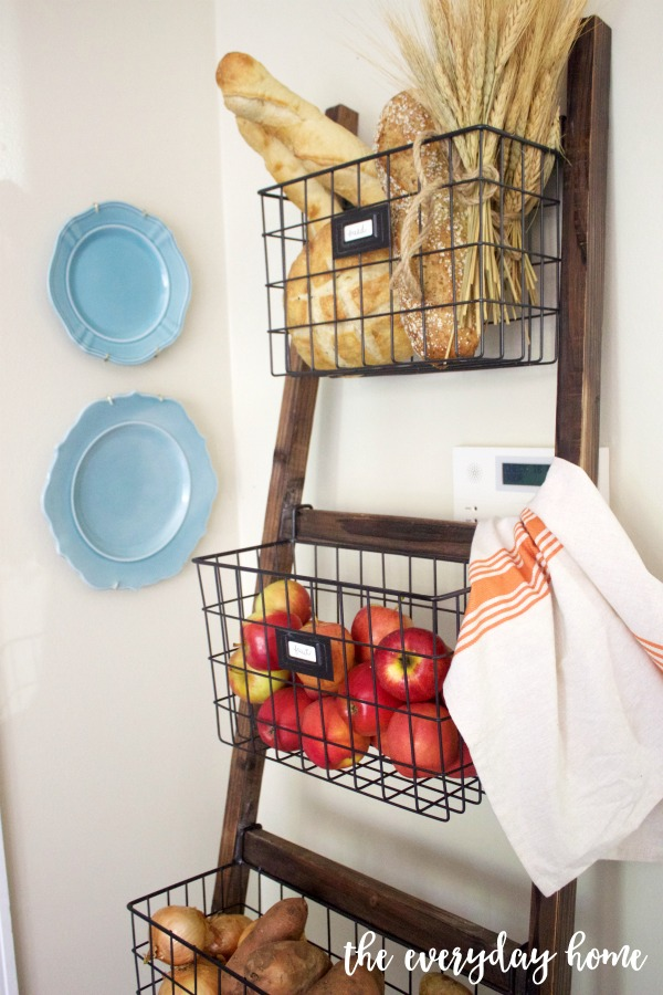 A Basket Ladder Organizer in the Kitchen | The Everyday Home