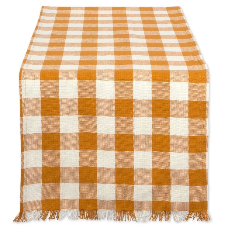 Orange and Cream Checked Table Runner | The Everyday Home