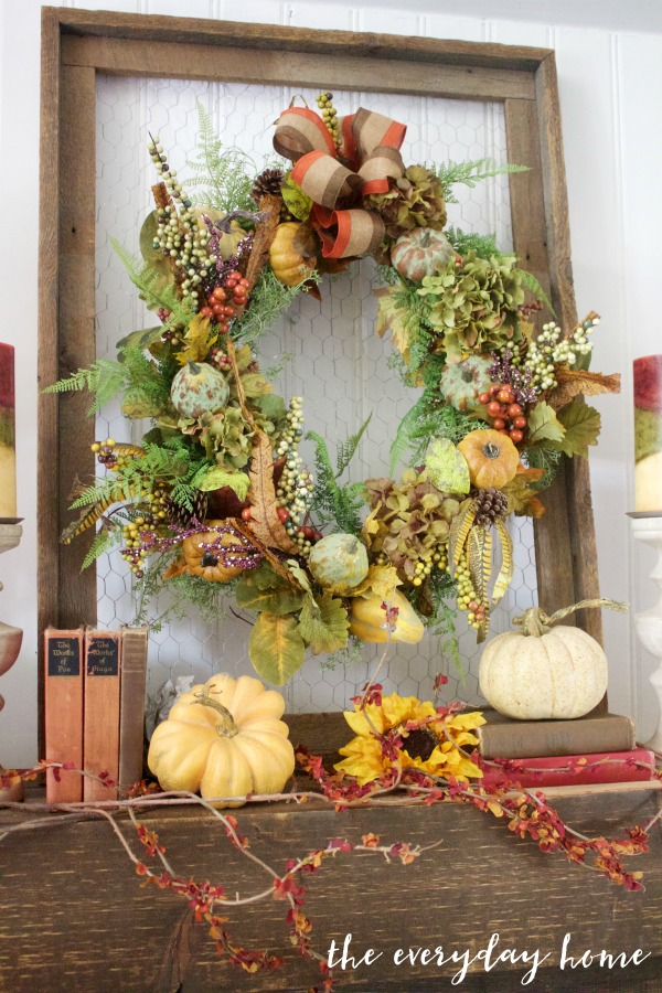 A Rustic Fall Mantel Wreath | The Everyday Home | www.everydayhomeblog.com