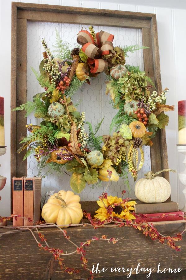 A Rustic Fall Mantel Wreath | The Everyday Home | www.everydayhomeblog.com