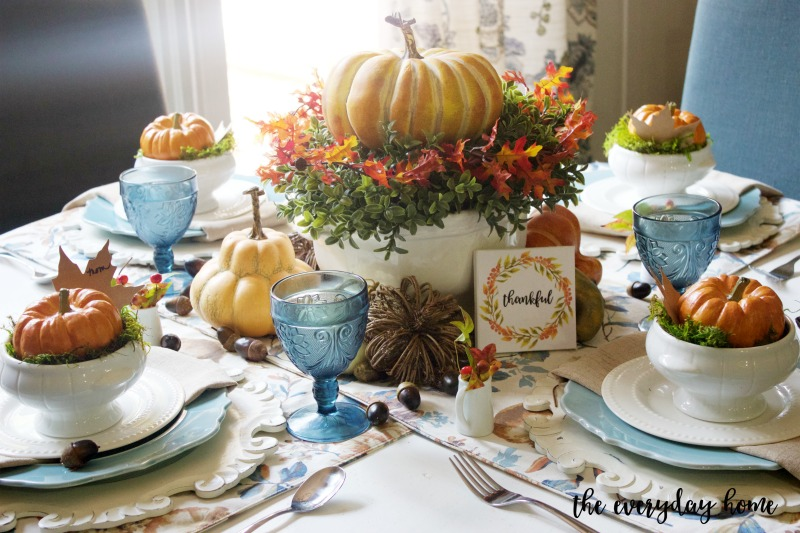 A Fall Tablescape in Blue and Orange | The Everyday Home