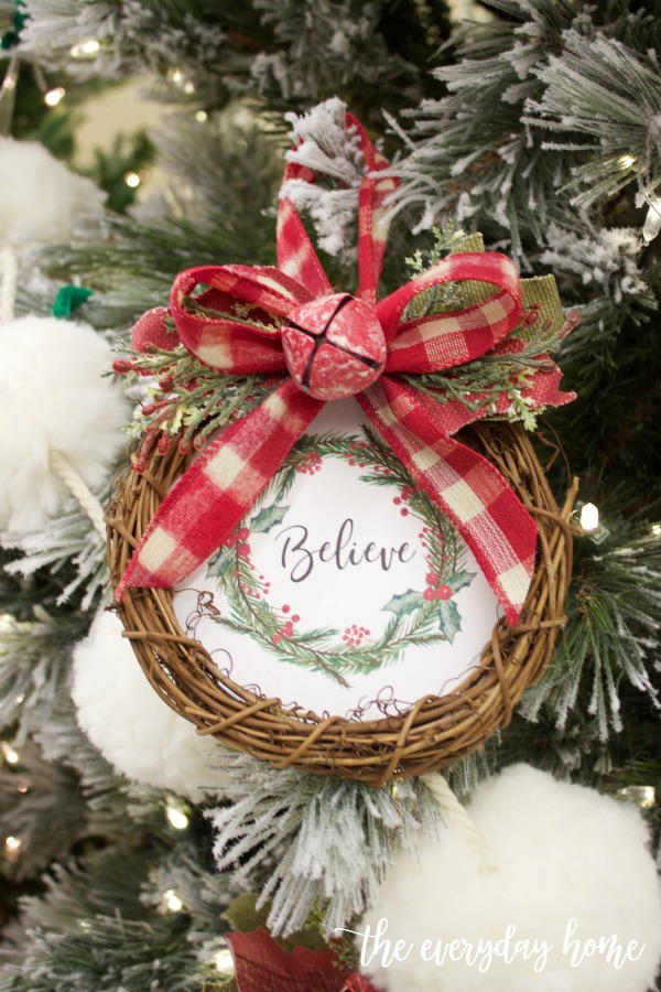 Mini Believe Wreath Christmas Ornament (Free Printable) | The Everyday Home