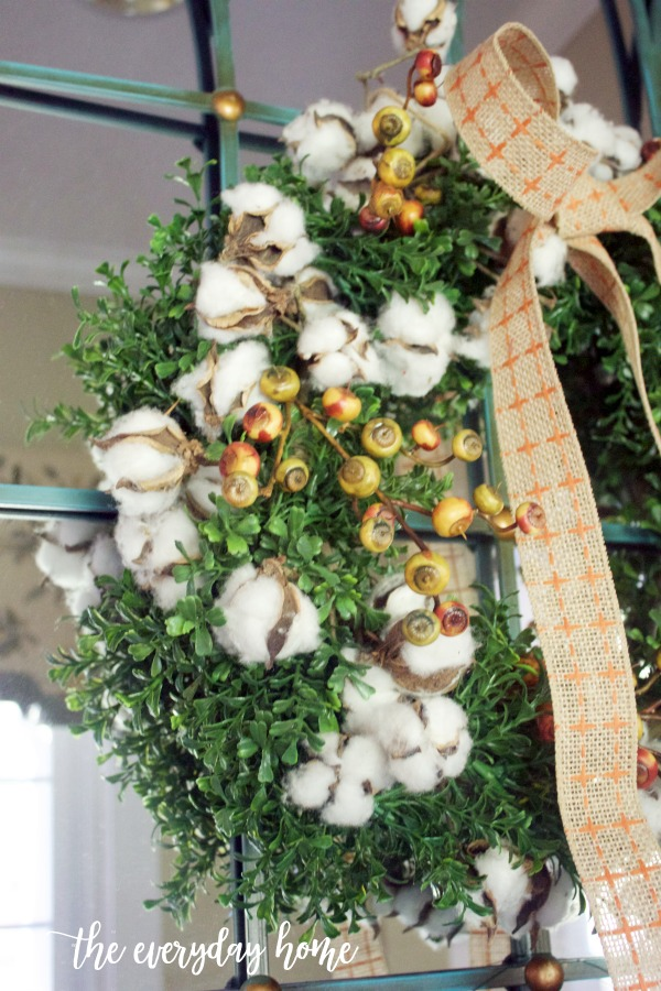 Boxwood and Cotton Fall Wreath | The Everyday Home