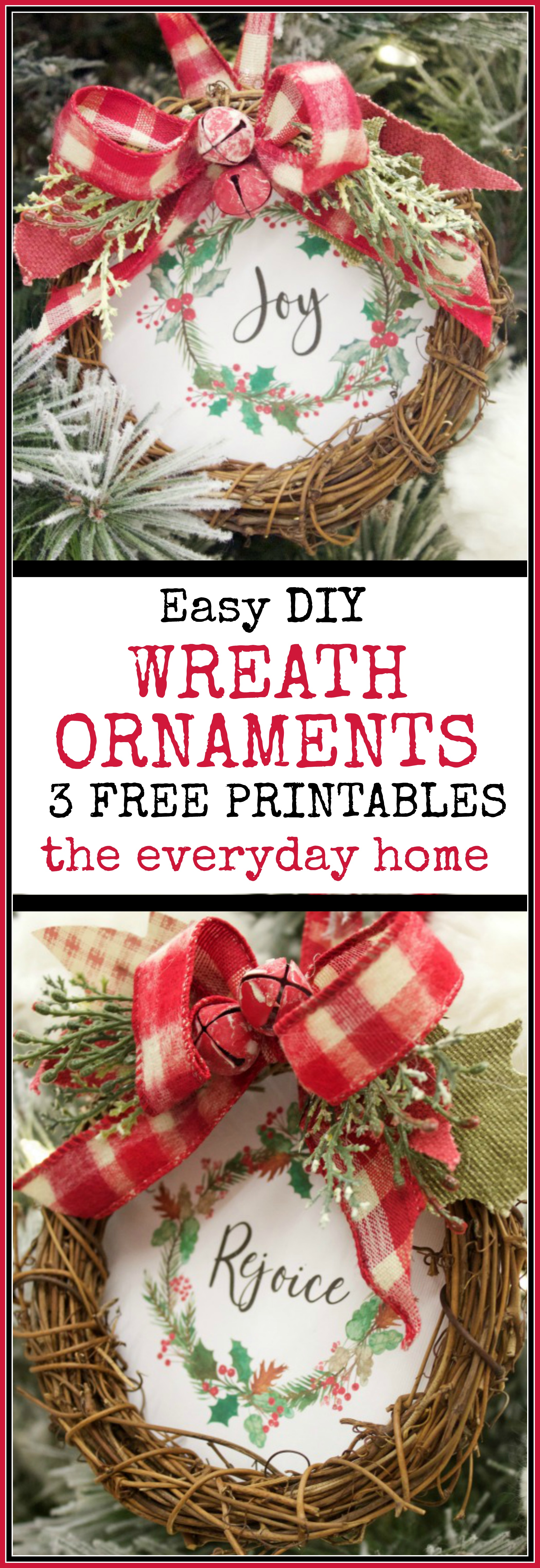 Easy DIY Wreath Christmas Ornaments (Free Printables) | The Everyday Home