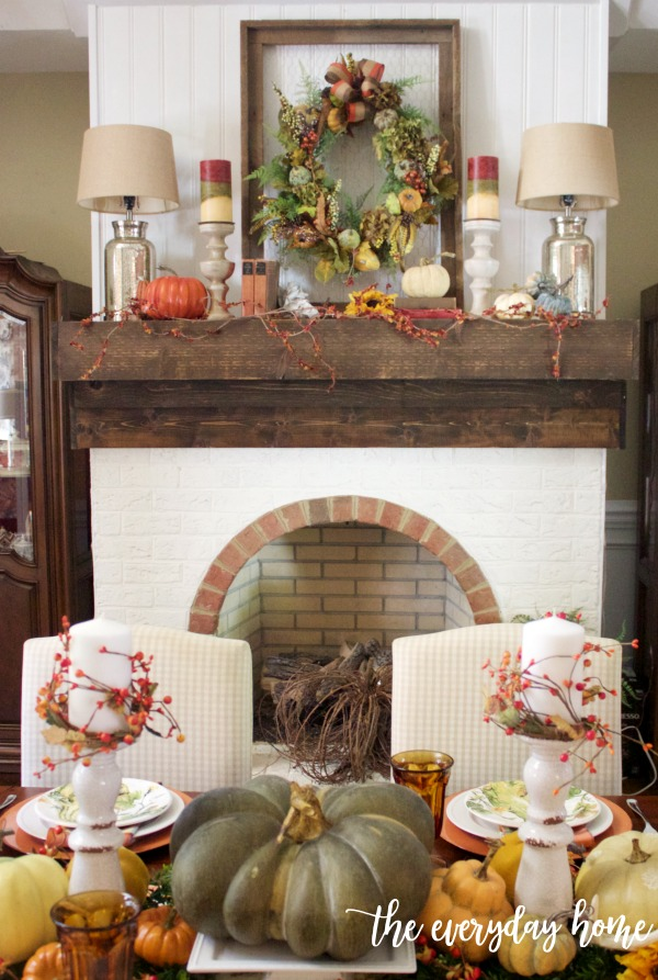 Traditional Fall Tablescape and Mantel | The Everyday Home