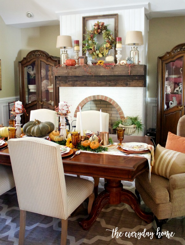 Fall Tablescape and Mantel in Traditional Colors | The Everyday Home