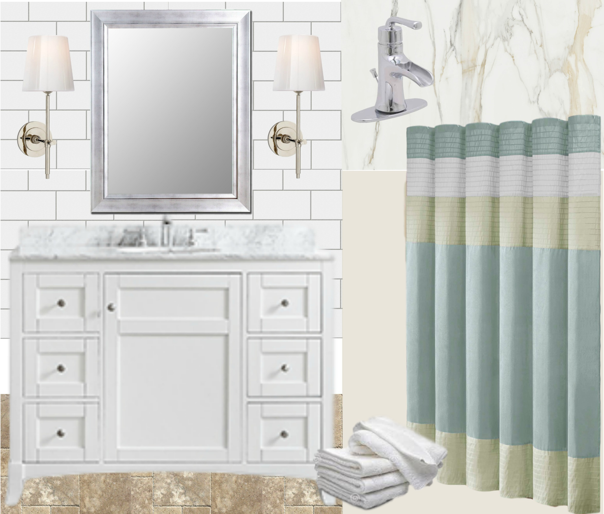 Guest Bathroom Makeover Design Mood Board - The Everyday Home