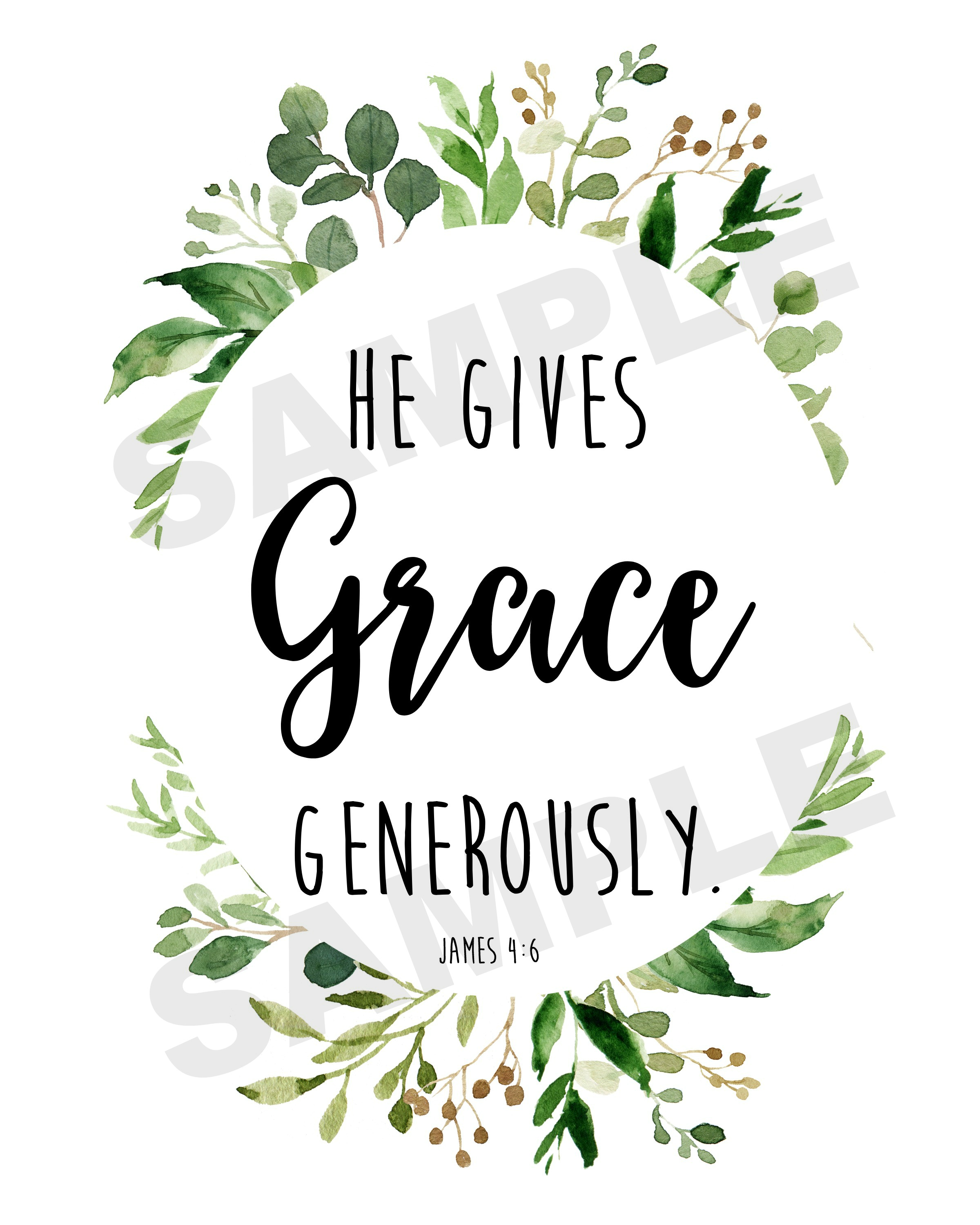 He Gives Grace Generously FREE Printable | The Everyday Home