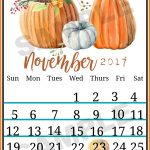 November Fall Calendar Printable