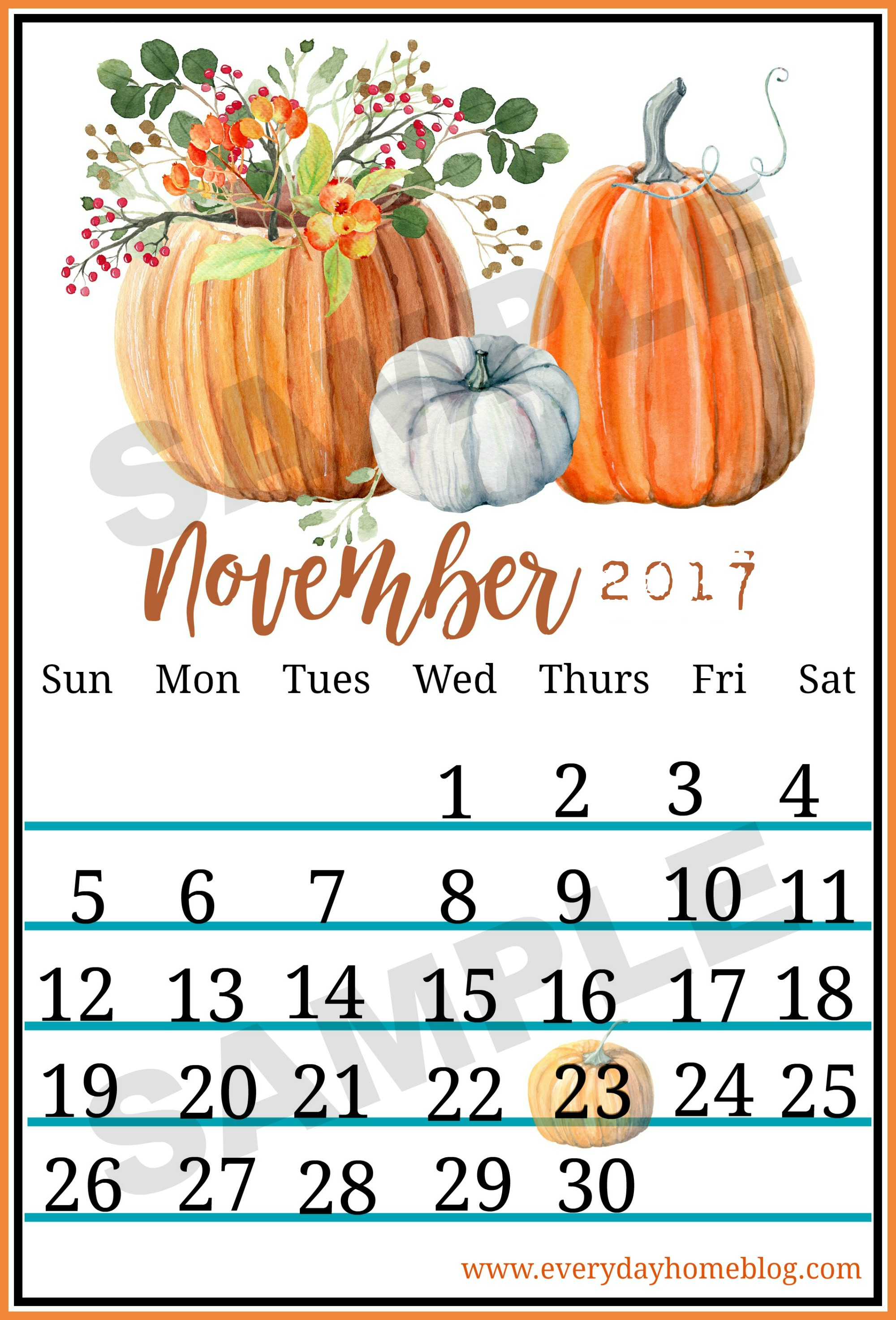 November Fall Calendar Printable The Everyday Home