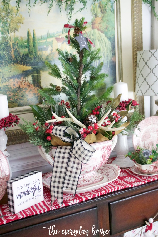 Christmas Sideboard Cedar Tree Centerpiece | The Everyday Home