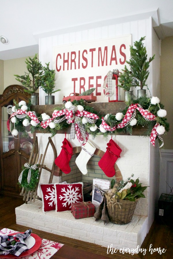 Old Fashioned Christmas Mantel and Hearth | The Everyday Home