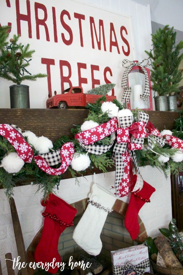 Fluffy Christmas Garland and Jingle Bell Stockings | The Everyday Home