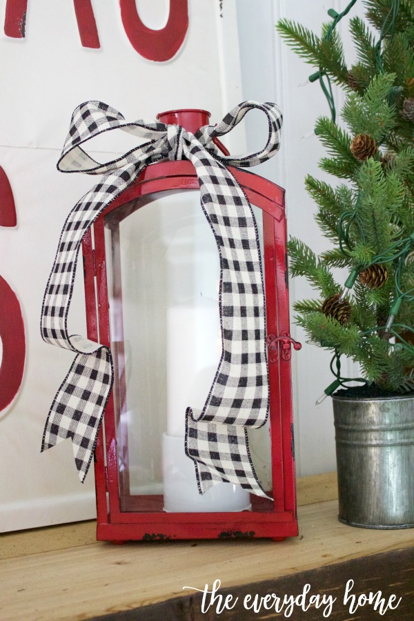 Red Metal Lantern for Christmas | The Everyday Home