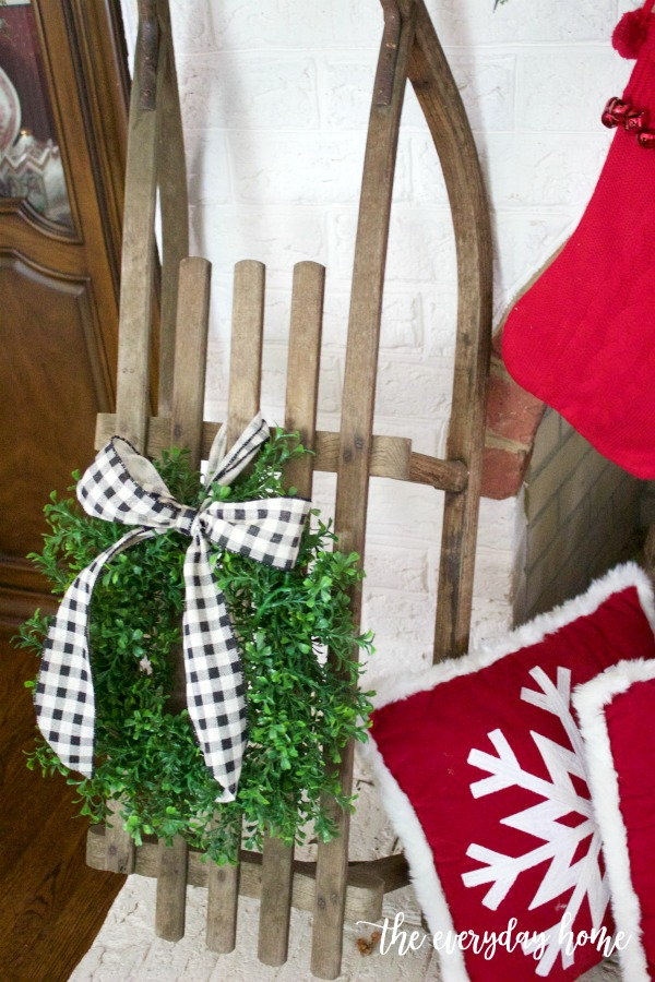 Antique Sled with Boxwood Wreath | The Everyday Home