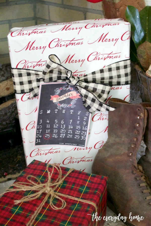 Wrapped Christmas Gifts with Calendar Printable | The Everyday Home
