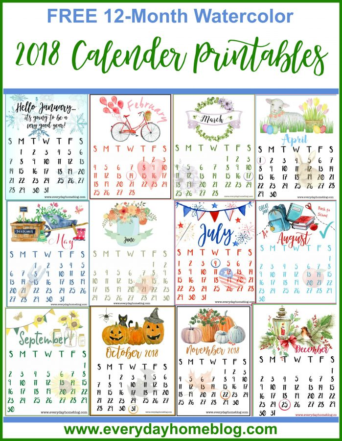 Year Calendar Seasons : Free month calendar printables the everyday home