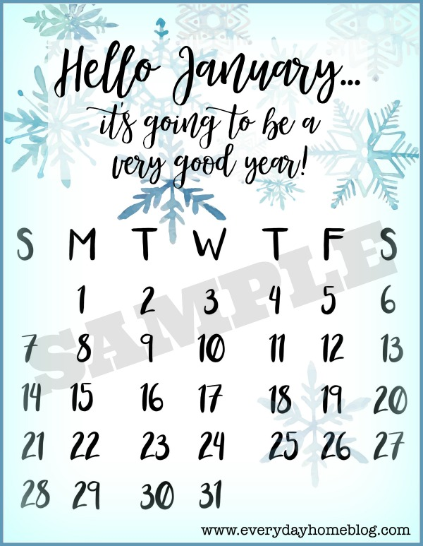 January 2018 Watercolor Calendar Printable | The Everyday Home
