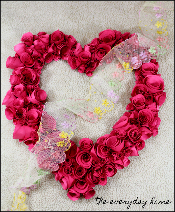 Homemade Valentine's Day Wreath Easy Red Paper | the everyday home