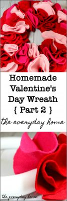Homemade Valentine's Day Wreath Red Felt Flowers | the everyday home