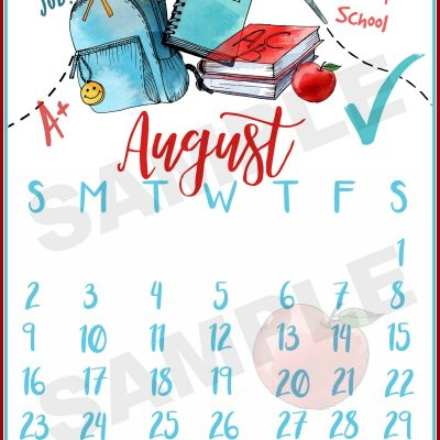 Happy August!!!! Free Calendar Printable
