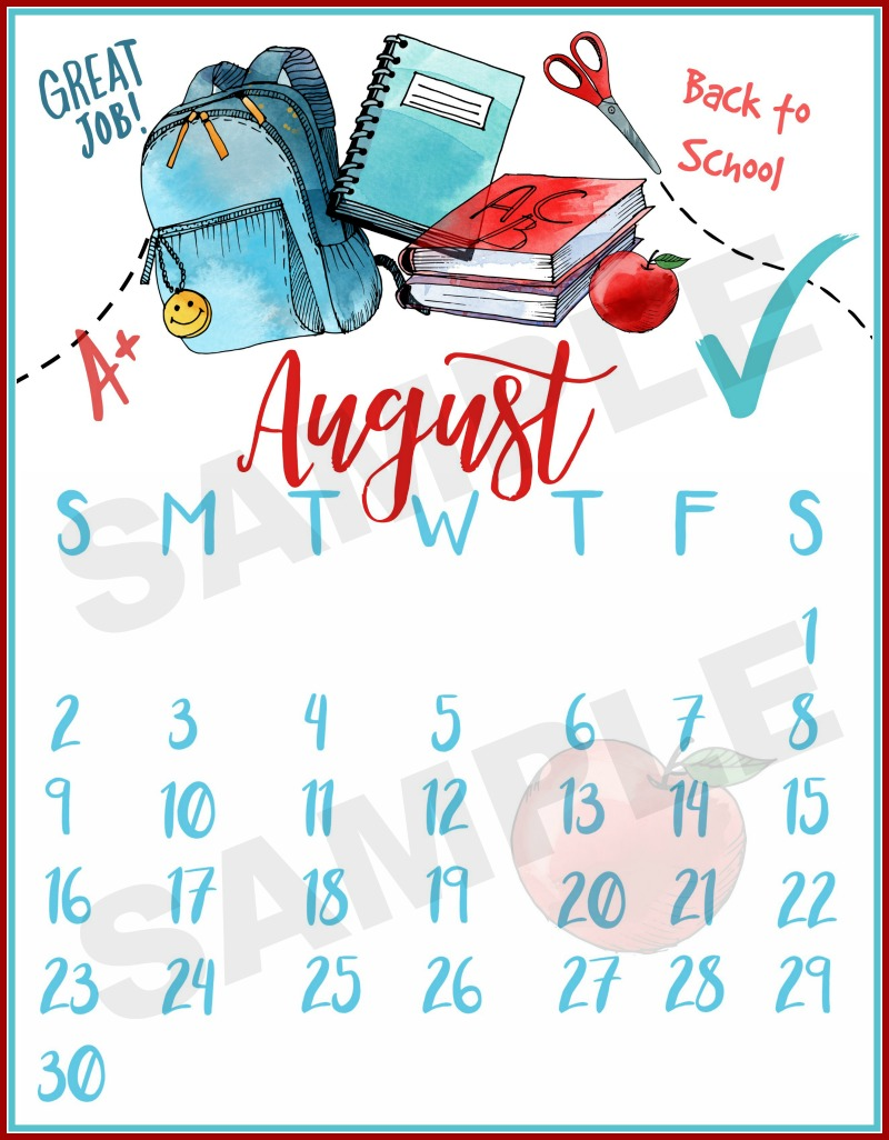 2018 August Calendar Printable | The Everyday Home